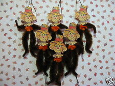 PRIMITIVE VINTAGE STYLE THANKSGIVING SCARECROW ORNAMENTS CHENILLE FEATHER TREE