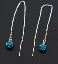 Solid 925 Sterling Silver,Teal Cubic Zirconia Ball Pull Through/ Dangle Earrings