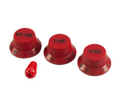 BLOOD RED STRAT KNOBS & TIP (1V 2T) FOR FENDER/CHARVEL USA GUITARS