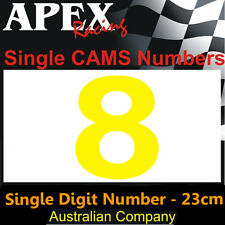 CAMS Window Number 8 Sticker - Single Number 23cm - Race Rally Drift - Yellow