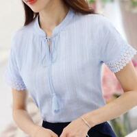 Women Summer Lace Up V Neck Tassels Top Tunic Basic Shirt Business Career Blouse
