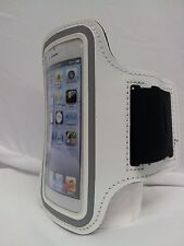 WHITE Armband Case for Jogging Running Apple iPhone 5 5S Holder Cover with Strap