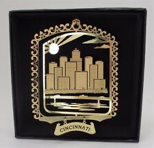 Cincinnati Brass Ornament Black Leatherette Gift Box Ohio Travel Souvenir