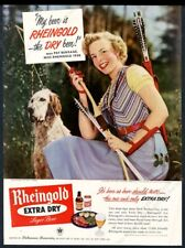 1950 Miss Rheingold beer archery English Setter photo vintage print ad