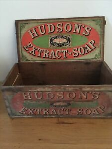 A Original Hudson Extract Of Soap Advertising Wooden Box