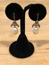 "Vintage Antique Large Pearl, Diamond & Gold Earrings 1 1/2"" Drop - Marked 14k"
