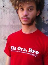 New Zealand Global Culture Tee KIA ORA, BRO Red 100% Cotton Size S T-Shirt