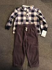Carters Blue White Plaid Fleece Sweatshirt 2 Piece Pants 24 Months NWT