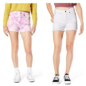 Levi Strauss 2PACK 17/W33 High Rise Shortie Shorts White & Multicolor CUTE *NWT*