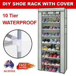 10 Tier Shoes Cabinet Storage Organizer Portable Wardrobe Shoe Rack With Cover