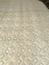 """Hand crocheted blanket or bedspread for twin bed 64"""" x 109"""""""
