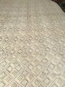 "Hand crocheted blanket or bedspread for twin bed 64"" x 109"""