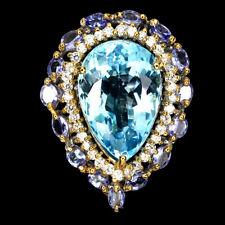 Handmade Pear Swiss Blue Topaz 21.86ct Tanzanite Cz 925 Sterling Silver Ring 7.5