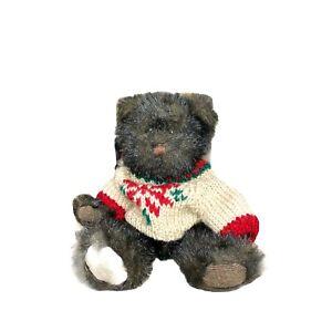 Russ Berrie Barnaby Black Teddy Bear Plush Toy Corduroy Paw Sweater Fuzzy Retire