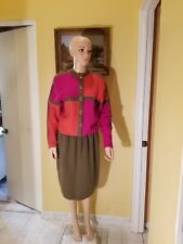 ST. JOHN BY MARIE GRAY LONG SLEEVE MULTI-COLORED SKIRT SUIT,10