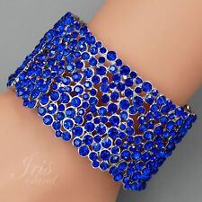 Rhodium Plated Blue Crystal Wedding Bangle Cuff Stretch Bracelet 09698 Prom