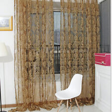 Retro Flocked Floral Voile Door Window Curtain Panel Sheer Tulle Drape Hot SaleT