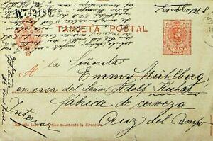 SPAIN 10c TARJETA POSTAL CARD TO CRUZ DEL CAMPO