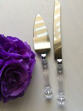 Wedding Party Cake Knife and Server Set with Faux Crystal Handle Rhinestone
