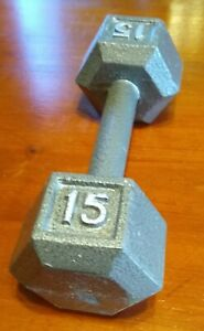 15 lb Hex Cast Iron Dumbbell ONE Single Total Weight 15 Pounds