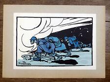 GEORGES BRUYER Gravure Couleur COÛTE QUE COÛTE ww1 Première Guerre Mondiale GAZ