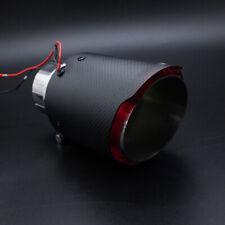 63mm LED Light Inlet Red End Pipes Car Muffler Matte Carbon Fiber Exhaust Tips