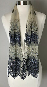 Scarf Sheer Taupe With Black Lattice Florals Sequins Slinky 17 x 52 NEW