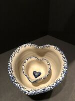 Marshall Pottery Tommy  Humpfreys Stoneware Heart Shaped Bowls W Heart Design