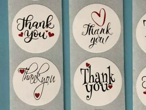 Thank you stickers labels round 25mm- White & heart -Business Wedding Gift Craft