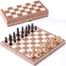 1XVintage Wooden Pieces Chess Set Folding Board Box Wood Hand Carved Kids Toy