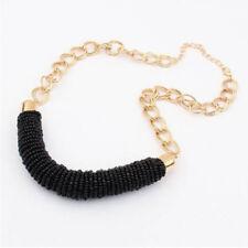 1pc Fashion Vintage Handmade DIY Beaded Chunky Chain Bib Collar Women Necklace Black