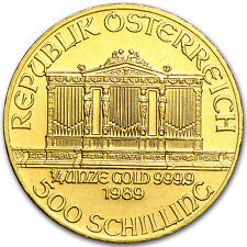 1989 Austria 1/4 oz Gold Philharmonic BU - SKU #82618