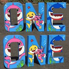 Baby Shark Childrens letters. Nursery decor babies bedroom Birthday Party Kids