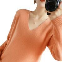 Damen Kaschmirpullover V-Ausschnitt Langarm Sweater Warm Strickpullover Loose L