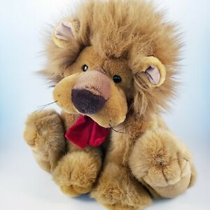 """Vintage Mary Meyer Lion Plush Stuffed Animal Toy With Red Bow Aprox 11"""" Seated"""