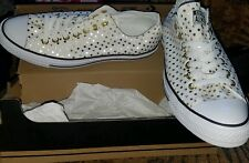 Converse all star white and gold womens 12 mens 10 polka dots