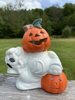 Vtg Ceramic Pumpkin In Ghost Costume Jack O Lantern Halloween Tea Light Votive