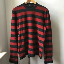Very Cool Marc Jacobs 100% cashmere red black stripes jumper Italy Sz M