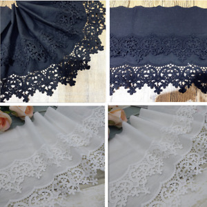 """1yd Floral Embroidery Cotton Lace Trim Cotton Fabric Sewing 8.6"""" wide DIY B312"""