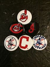 """1.25"""" Cleveland Indians pin back button set of 6"""