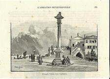 Stampa antica CHIOGGIA Ponte Garibaldi Figure Colonna Venezia 1892 Old print