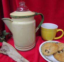 Vtg Rustic Granite Enamel Cowboy/Camping Coffee Pot/ Hinged Lid Glass Knob 8 cup