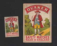 Ancienne   étiquette allumette Royaume Uni  BN4379 Quaker