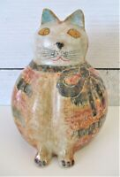 Cloisonne ? Cat Statue Figurine Made in Italy Terracotta ? Bottom Cost Plus HTF