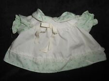 VINTAGE COLECO CABBAGE PATCH KIDS BABY DOLL WHITE GREEN DRESS W/ FLOWERS OUTFIT