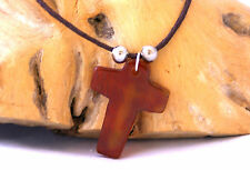 Orange yellow brown agate gemstone cross pendant on brown cord necklace
