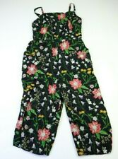 Old Navy Size XL Spaghetti Strap Black Floral Cropped Jumpsuit