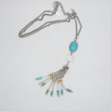 Lane Bryant Signed jewelry silver plated long necklace tassel turquoise pendant