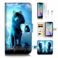( For Samsung S7 Edge ) Wallet Case Cover P1931 Wolf