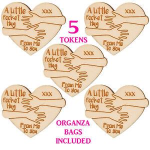 5x Wooden Little Pocket Hug Tokens Heart Keepsake Gift for Loved Ones Friends